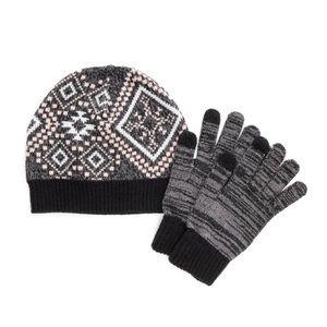 MUK LUKS Black Gray Beanie Touchscreen Gloves Set